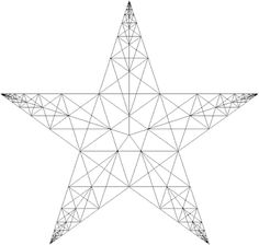 Five Pointed Star: with lines related by Fibonacci numbers 5,8,13 #Star #Fibonacci