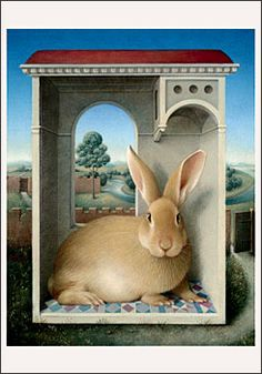 Koo Schadler (1962- )  Egg tempera paintings of rabbits