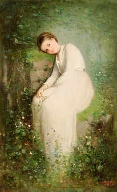 O floare între flori - Nicolae Grigorescu, romanian painter Art Magique, Blog Art, Pre Raphaelite, Claude Monet, Beautiful Paintings, Oeuvre D'art, Female Art, Art History, Painting & Drawing