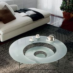 Spiral Coffee Table - Cattelan Italia (Prism Love Coffee tables Modern White Glass Silver Living room)