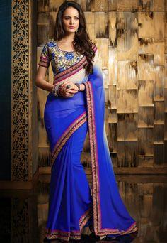 Ravishing Royal Blue & Off White #Saree
