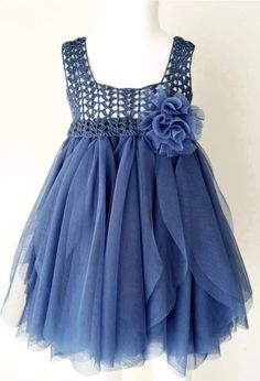 Indigo Blue Empire Waist Baby Tulle Dress with Stretch Crochet Top.Tulle dress for girls with lacy crochet bodice. Indigo Blue Empire Waist Baby Tulle Dress with Stretch Crochet Crochet Girls, Crochet For Kids, Crochet Yoke, Crochet Toddler, Crochet Poncho, Crochet Doilies, Little Girl Dresses, Girls Dresses, Dresses Dresses