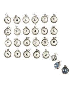Look at this #zulilyfind! Silvertone Reversible Clock Initial Charm #zulilyfinds