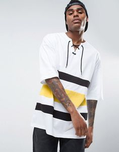 ASOS Oversized T-Shirt With Cut And Sew Panels - White