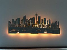 """Lighted Seattle Skyline... laser cut...48"""" dual layer by Blessingsandsparkles on Etsy https://www.etsy.com/listing/270121131/lighted-seattle-skyline-laser-cut48-dual"""