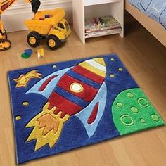 Childrens Play Rocket Rugs 70 X 100cm Perfect For Any Little Boys Room And Affordable