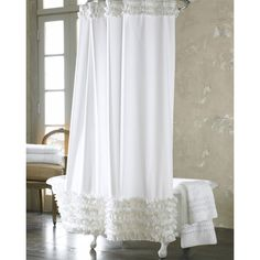 Dreamy French White Lace Luxury Shower Curtains