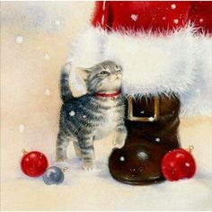 Santa's Kitten -- by Lisa Alderson via @loveschristmas24 on Instagram. http://www.instapinapp.com (11/13/2015)