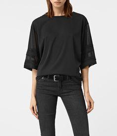 Womens Brendi Sleeve Top (Black) - product_image_alt_text_1