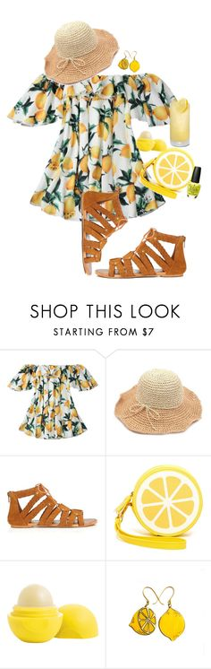 """""""Lemon"""" by bitty-junkkitty ❤ liked on Polyvore featuring Miss Selfridge, Shiraleah, Eos and OPI"""
