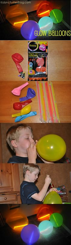 Break small glow sticks, put one in a balloon and voilà!  You have a glow-in-the-dark balloon!