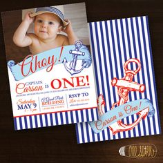 Nautical Birthday Party Custom Invitation Sailor by OneSparkStudio