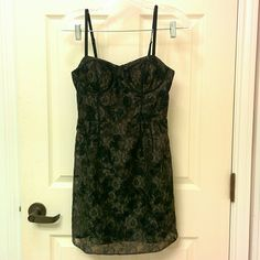 American Eagle lace bustier dress Only worn once! A black lace dress with zipper on the bag. Bustier style, makes a great LBD ! American Eagle Outfitters Dresses