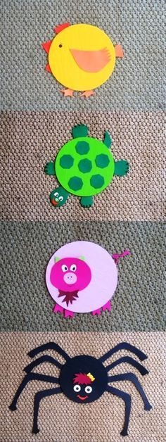 Zoo Disc - with old CD's/Reciclando Cds ! Cd Crafts, Puppet Crafts, Arts And Crafts, Recycled Cds, Recycled Crafts, Cd Recycle, Diy For Kids, Crafts For Kids, Old Cds