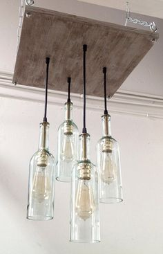 Recycled Wine Bottle Chandelier: Industrial Chandelier, Cottage Chic Lighting, Industrial Lighting, Modern Lighting, Mid-Century Decor #Home-Decor