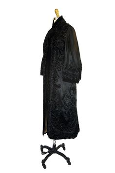 c1900 Jet Bead & Silk Evening Coat