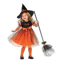 It's a dainty Halloween dress, it's a precious good witch costume (just put on the hat, included)!  Personalize it for an extra spooktacular touch!