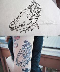 fox skull tattoo - Corinne Alexandra
