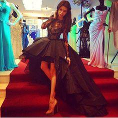 Arabic Black Myriam Fares Ball Gown Hi Lo Prom Dresses long Sleeves Sheer Taffeta Little Evening Gowns Plus Size vestido de festa BO8409