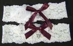 Texas A & M Aggie Wedding Garter Set Maroon Bows and White Stretch Lace on Etsy, $27.95