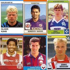 Here's some 90s mugshots of some iconic players #zidane #henry #baggio #bergkamp #cantona #kahn #football #footballplayer #vintage #vibtagefootball #retro #retrofootball #panini #oldschool #90s #90sfootball #soccer