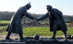 Christmas Truce Great War at Ploegsteert, Belgium by sculptor Andy Edwards .