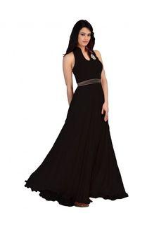 Colour Black Fabric Velvet, Georgette Type Gown