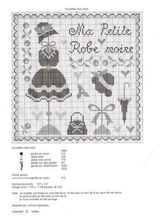 TRALALA. Ma petite robe noire 2 Cross Stitch Needles, Cross Stitch Charts, Cross Stitch Designs, Cross Stitch Patterns, Cross Stitching, Cross Stitch Embroidery, Art Rose, Cross Stitch Geometric, Vintage Cross Stitches