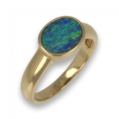 Modern Doublet Freeform Opal Ring in contemporary yellow gold setting