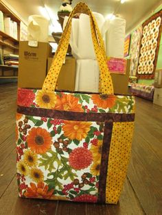 Fall Flowers Tote by barefootquilterny on Etsy, $60.00