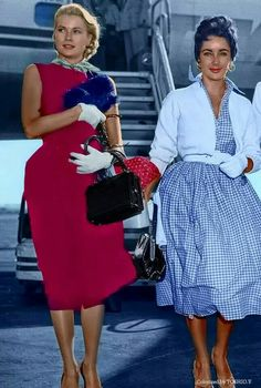 Grace Kelly and Elizabeth Taylor Ms. Taylor's flying style consisted of mid-calf length full skirt shirtdress, silhouette of a pulled in waist, notorious gloves