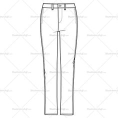Women's Flat Front Trouser Fashion Flat Template