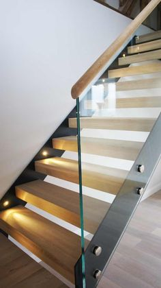 Bespoke Staircase Godalming with oak treads and frameless glass balustrade Bespoke Staircase Godalming with oak treads and frameless glass balustrade Glass Stair Balustrade, Balustrade Design, Staircase Handrail, Frameless Glass Balustrade, Stair Railing Design, Balustrades, Interior Staircase, Home Stairs Design, Wooden Staircases