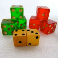 Green Butterscotch and Red BAKELITE VINTAGE DICE