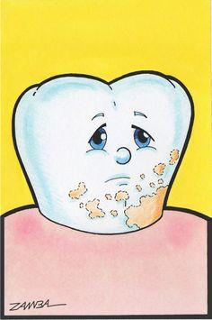 Ilustração de Dentinho Animado, técnica com aquarela e  lápis de cor aquarelável - ano de 2000 - Projeto Gráfico para Pôster - Thooth Cartoon.