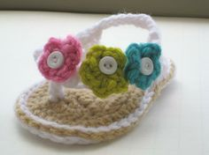 I need to learn to crochet incase I have a girl one day...so I can make her some cute crochet flip flops like these!