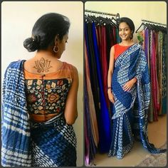Orange Kalamkari blouse with blue saree