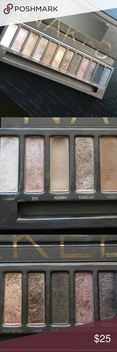 Urban Decay Naked Palette Downsizing my makeup collection and selling a slightly used Naked Palette! Included close ups of the shades- none have hit pan, though the shades Naked and Virgin do have visible wear. Urban Decay Makeup Eyeshadow