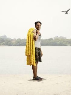 Photography by Ken Hermann: The flower man of Mallik Gatt Flower Market, Calcutta, India.