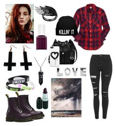 """""""Love *Black & Red*"""" by bludream-blog on Polyvore featuring Aéropostale, Topshop, Dr. Martens, MICHAEL Michael Kors, Zero Gravity, Bling Jewelry, Chicnova Fashion and Essie"""