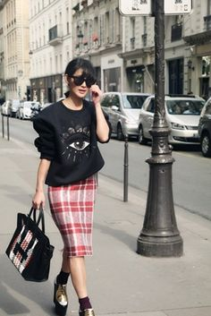 Kenzo Eye Sweatshirt, Celine Plaid Skirt