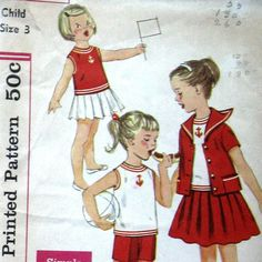 #Vintage 1950s #Girls Play Wear #Sewing #Pattern #Nautical Theme #Blouse #Skirt #Jacket #Shorts Simplicity 2986 Sz 3