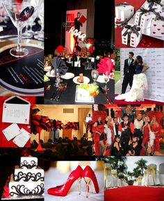 Isn't it amazing? Red , black, and white James Bond theme casino party ideas