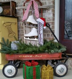 Some vintage and rustic repurposing for Christmas on the front porch  https://www.etsy.com/shop/TrashFindRedesigned