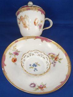 Rare 18thC KPM Berlin Porcelain Trembleuse Lidded Cup & Saucer Porzellan Tasse #KPMBerlinGerman