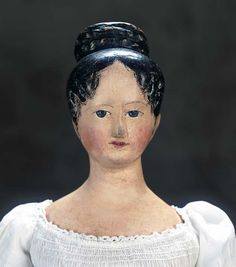 German Carved Wooden Doll with Rare Coiffure and Modeled Bosom