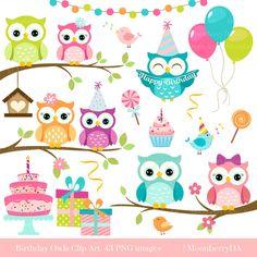Owls Clipart 'BIRTHDAY OWLS' Clip Art. by MoonberryDigitalArt