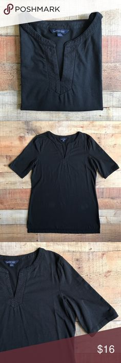 """Lands' End Tunic Top Gently used tunic style top. Black in color with detailed patterned neckline. The size on the tag indicated it would fit a size 10-12. Measurements are 30"""" Long, 12"""" sleeve, 21"""" bust, 23"""" waist and 4"""" side splits. Lands' End Tops Tees - Short Sleeve"""