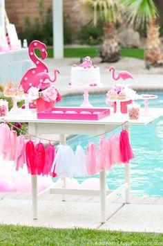 Flamingo dessert table at a pink flamingo Pool + Art Birthday Party by Kara Allen | Kara's Party Ideas KarasPartyIdeas.com Flamingle_-83