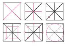 PERSPECTIVE du CERCLE - 1 /  Décomposition du tracé d'un cercle dans 1 carré :  - 1 le tracé des diagonales - 2 les médianes - 3 partage en 3 parties égales d'une demi-diagonale - 4 tracé du carré intérieur dont un coin passe par le point du 1er tiers (légèrement ramené vers le centre ) - 5, repérage des  8 points caractéristiques  (4 sur les médianes et 4 sur les coins du carré interne) - 6 tracé du cercle en reliant ces 8 points particuliers